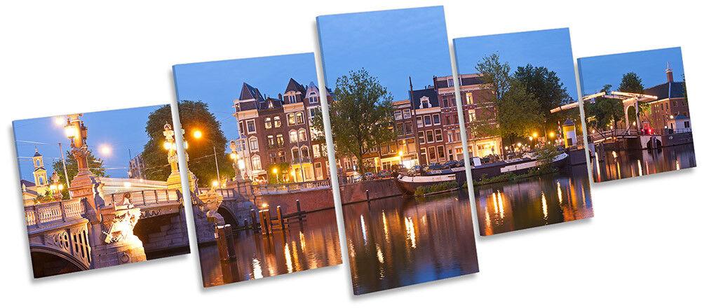 Amsterdam River image skyline Toile Wall Art Cinq Panneau