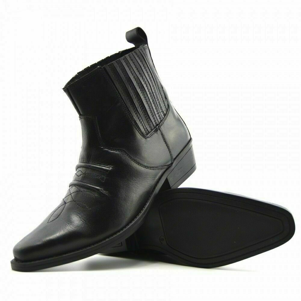Mens Leather Ankle Boots Pointed Biker Fashion Western Smart Slip Pull on UK