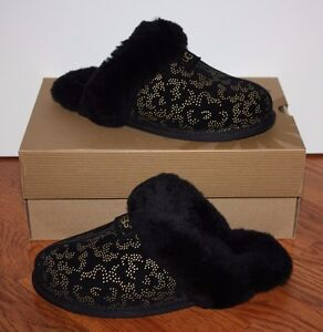 ffb3f326492 Details about NIB Womens UGG Australia Black Scuffette Metallic Conifer  Slippers Shoes Size 7