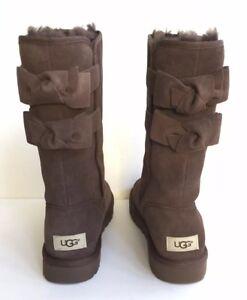 77fa66d4db2 Details about UGG WOMEN TALL ALLEGRA BOW II CHOCOLATE BOOTS USA 9 / EU 40 /  UK 7 - NIB