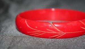 Cherry Red  Lathe Turned Bakelite Bangle Bracelet