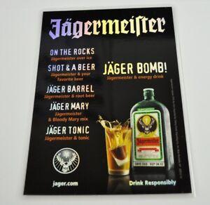 Jaegermeister-USA-laminierte-Drink-Rezept-Karte-mit-irisierender-Schrift-Flyer