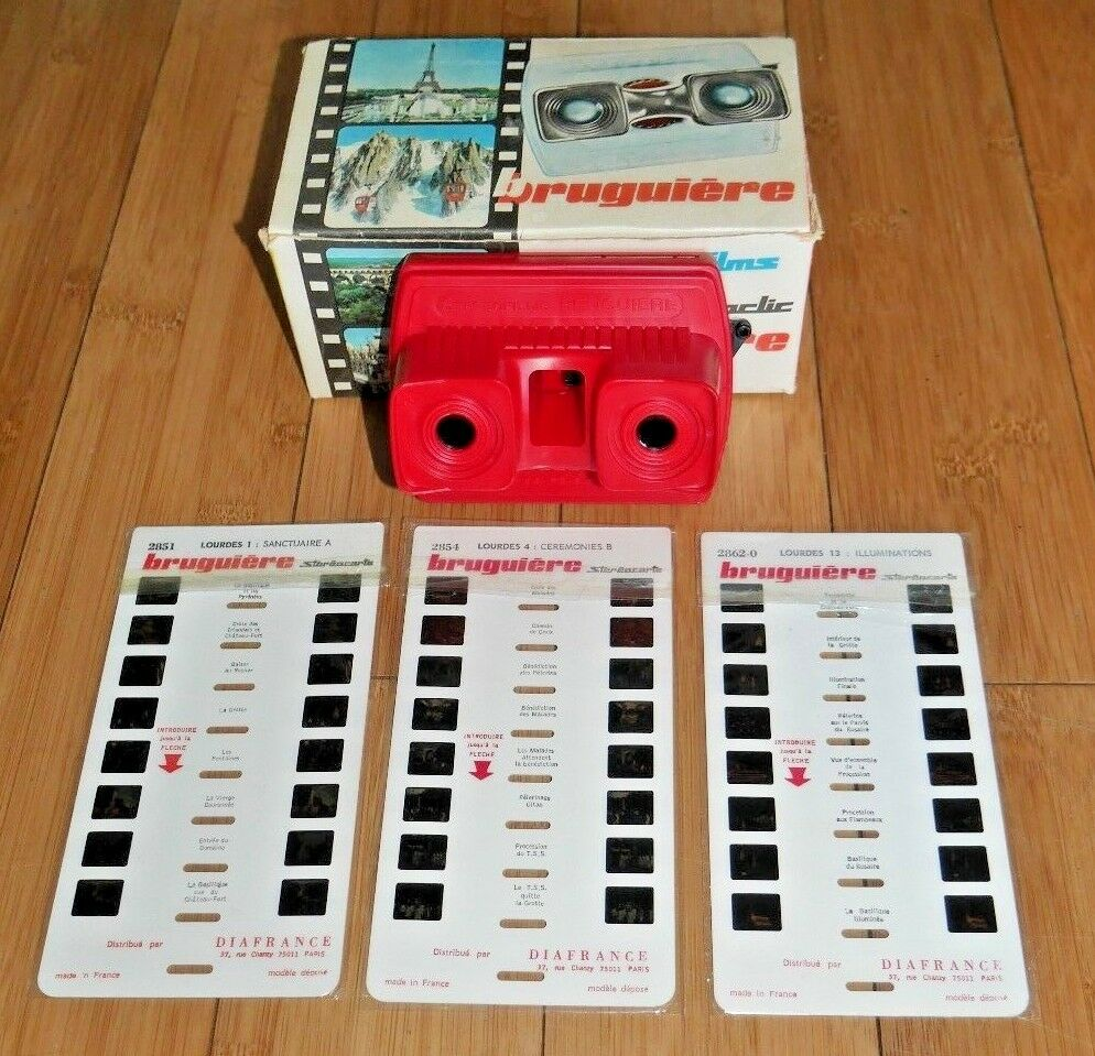 VINTAGE BRUGUIERE STEREOCLIC JUNIOR VIEWER & LOURDES CARDS BOXED 1960s RARE B134