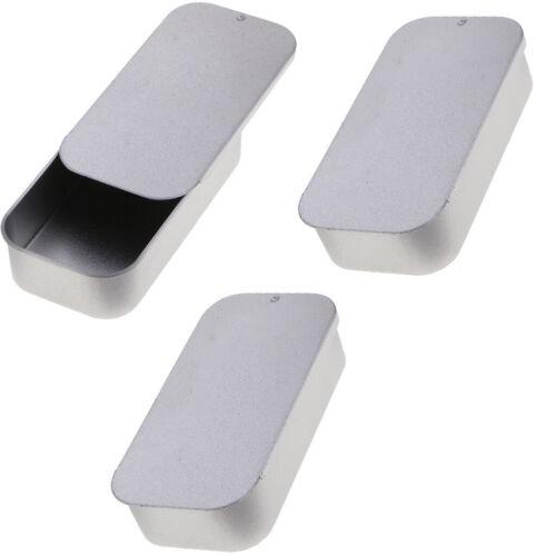 3Pcs Small Jewelry Candy Coin Key Organizer Tin Sliding Cover Storage Box