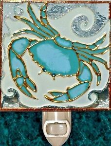 Crab Stained Glass Night Light Bathroom Decor Beach Ocean Nautical Wall Plug In