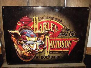 METAL DECOR* HARLEY DAVIDSON HD HOG PLAQUE shop bike motorcycle hat cap glasses