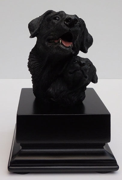 Living Stone Black Labrador and Pup Bust Small Size Item #73303