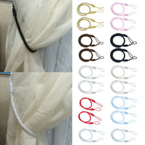 1 Pairs Curtain Tiebacks Tassel Thick Twisted Rope Living Room White Color