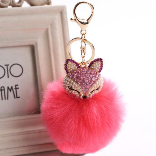 Cute Fox Pearl Furry Ball Key Chain Keyring Rhinestone Pedant Faux Fur Bag Decor