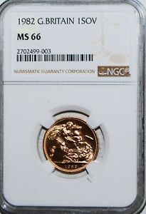 1982 GOLD SOVEREIGN GREAT BRITAIN NGC MS66