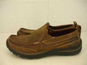 9e834214e5c0ea Skechers 63697 Mens 7.5 M Superior Gains Slip-On Brown Leather Shoes ...