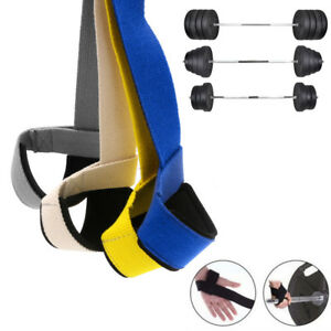 GYM-TRAINING-WEIGHT-GRIP-LIFTING-POWERLIFTING-HAND-WRAPS-WRIST-STRAP-SUPPORT