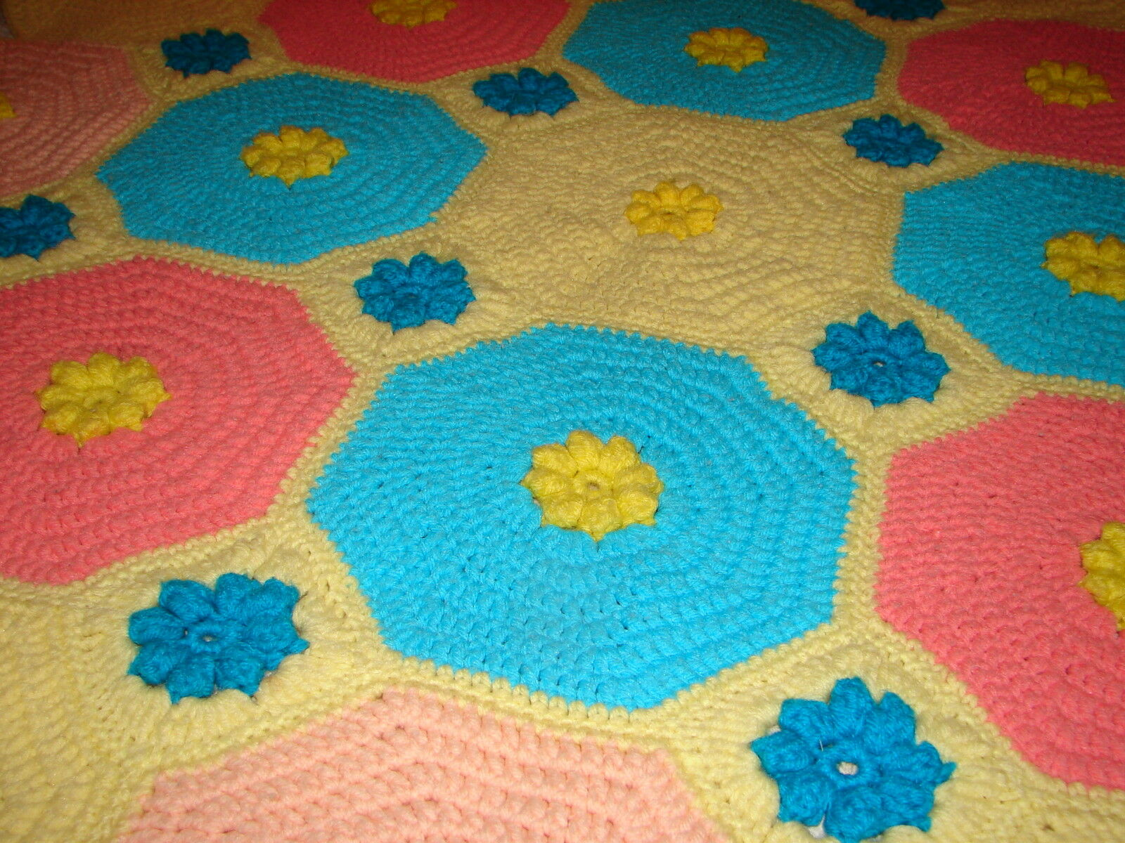 Handmade Handcrafted Crochet Afghan Throw Blanket  Floral with Multi-color