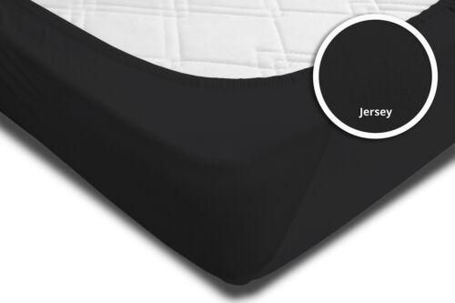 Spannbettlaken Spannbetttuch schwarz 90x200 cm 100x200 cm Jersey Rundumgummi