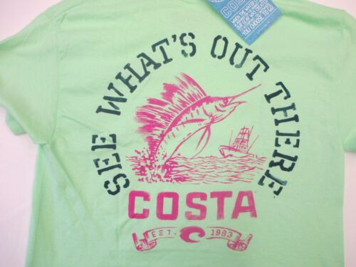 New Authentic Costa Del Mar, High Tide, Mint, Short Sleeve TShirt Size Medium