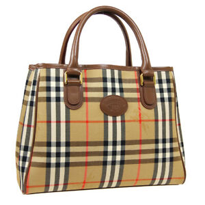 BURBERRY House Check Hand Tote Bag Purse Beige Brown Canvas Leather 36290