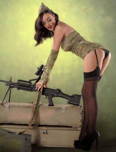 "TIN SIGN /""Hot Army Magazine Beauty/"" Pinup Babe Deco Garage Wall Decor"