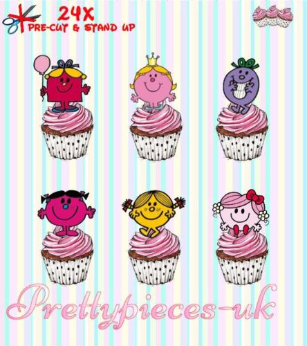 Little miss 24 stand-up pre-cut plaquette papier cup cake toppers