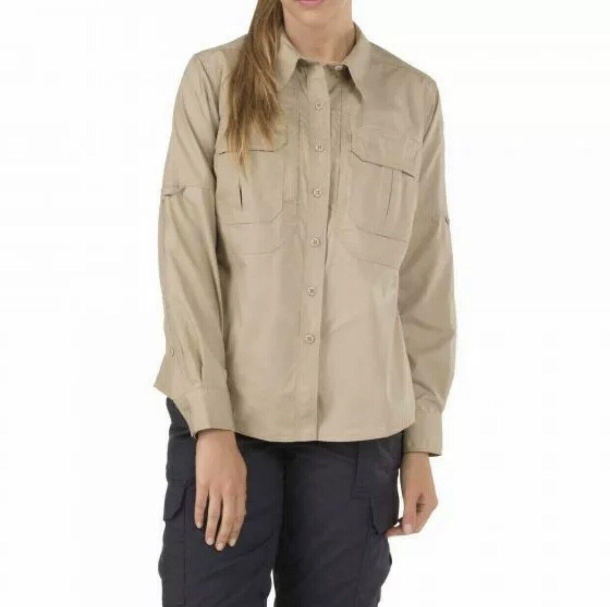 5.11 Womens Medium Tactical  Taclite Pro Shirt Long Sleeve Khaki Button Front NWT  online fashion shopping