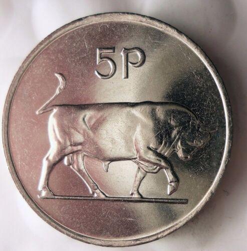 AU//UNC BIN #EEE From Irish Mint Roll 1982 IRELAND 5 PENCE
