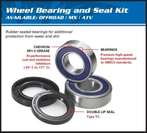 Yamaha Grizzly 660 2002 Front Axle Wheel Spindle Bearing and Seal Kit #25-1408