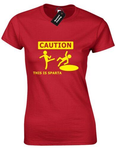 CAUTION THIS IS SPARTA LADIES T SHIRT PARODY 300 TROY WARNING HELMET GLADIATOR
