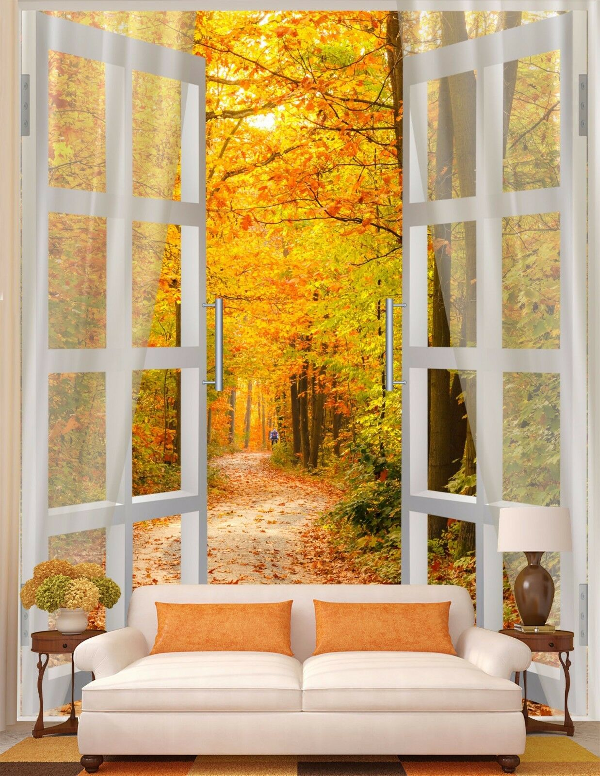 3D window view tree Wall Paper Wall Print Decal Wall Deco Indoor wall Mural Home