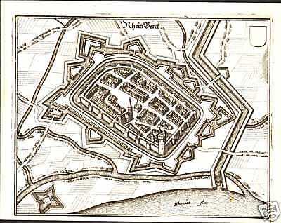 Rheinberg Kreis Wesel Rhein Echter Alter Merian Kupferstich 1646