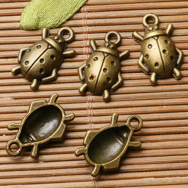 16pcs antiqued bronze color studded mushroom design charms EF0647