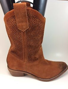 efd3a8cfedb BCBGeneration Brown Perforated Suede ' Bastille' Western Boots ...
