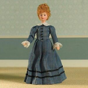 1-12TH-DOLLS-HOUSE-VICTORIAN-EDWARDIAN-LADY-IN-BLUE-SATIN-GOWN