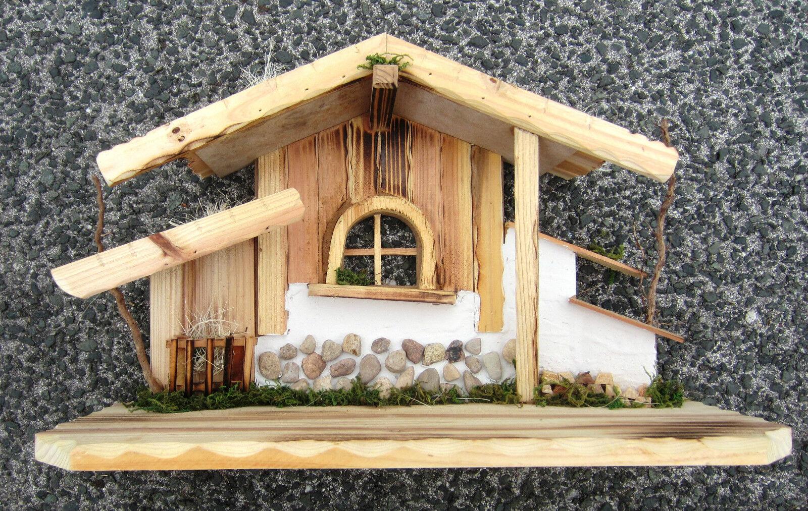 Krippe Große Weihnachtskrippe Stall Betlehem Neu für Figuren 10-13 cm 48x19 x29