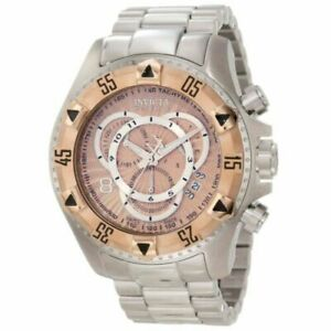 Invicta-Excursion-Chronograph-Rose-Gold-Dial-Stainless-Steel-Men-039-s-Watch-11000