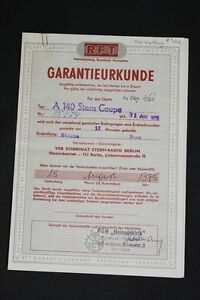 Old-GDR-Warranty-Certificate-A-140-Stern-Coupe-Radio-Classic-Car-Wartburg
