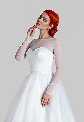 Braut Bolero Tüll Ivory Bolero Tüll Top Jacke weiß XXXL Braut Top
