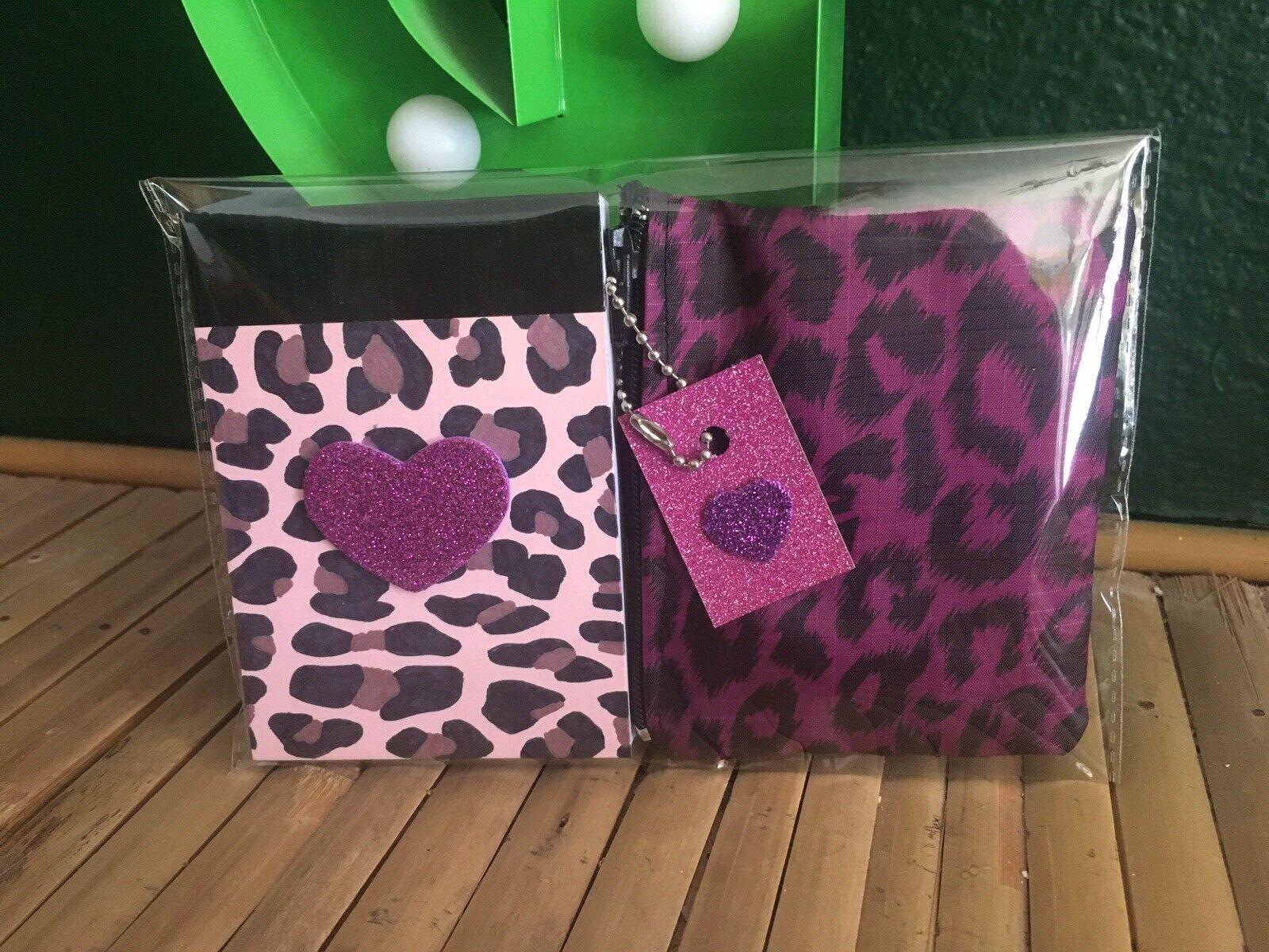 Retro Pink Leopard Print Waterproof Coin Purse +A7 Heart Notebook 2pc Gift Set