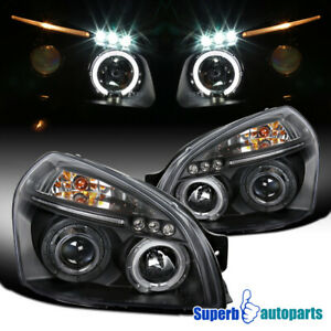 For-2005-2009-Tucson-LED-Halo-Projector-Headlights-Black-Replacement-Pair