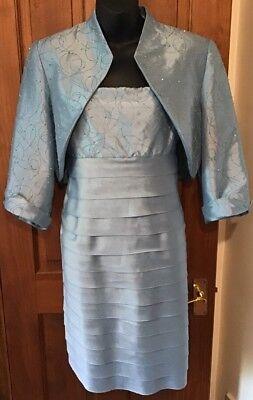 100% Vero Blue Madre Della Sposa Vestito 10 R & M Polvere Blu Richards Con Perline A Pieghe 2 Pce-mostra Il Titolo Originale Sconto Online