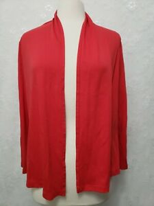LL Bean Women's Red open front supima cotton cardigan long sleeve Top Med petite
