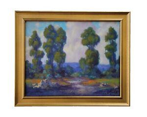 "James Slay Listed California 20"" Eucalyptus Trail Landscape Oil Painting Signed"