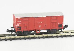 MINITRIX-Spur-N-3526-gedeckter-Gueterwagen-F-FS-Epoche-III-Spitzdach
