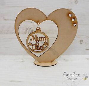 Image is loading Baubles-Wooden-CHRISTMAS-BAUBLE-HEART-HANGER-Free-Standing-