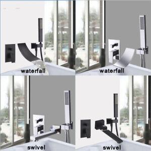 Détails sur Robinet de douche noir mural avec robinet de baignoire cascade  à montage mural