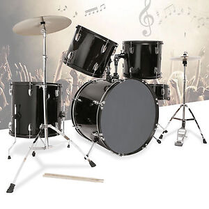 5-Piece-Complete-Adult-Drum-Set-Cymbals-Full-Size-Kit-with-Stool-amp-Sticks-Black