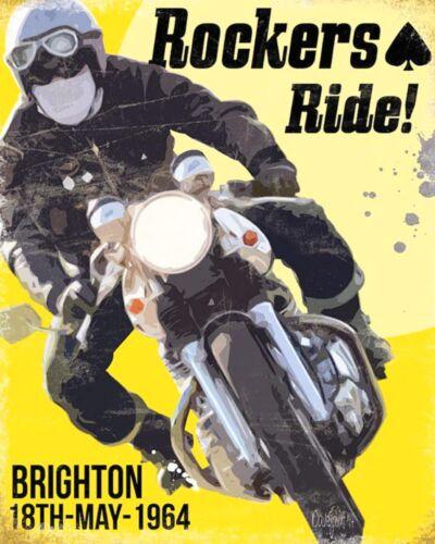 """10/"""" X 8/"""" rockeros Ride Brighton 1964 Motociclista de Metal Placa Señal De Estaño 524"""