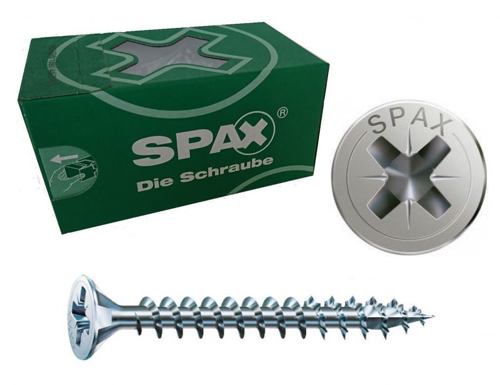 ABC Spax Senkkopf Spanplattenschraube Ø 2,5mm Vollgewinde silber verz. PZ1 Kreuz