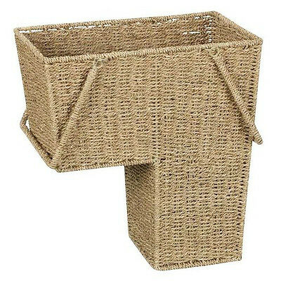 "Household Essentials ML-5647 Seagrass Stair Basket w/ Handles 15"" x 16"" x 9.5"""
