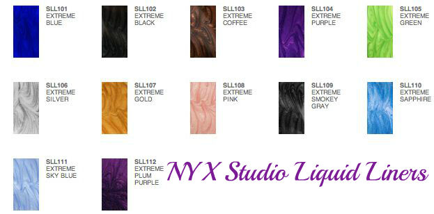 NEW NYX Cosmetics Studio Liquid Coloured Liner Available in 12 Shades