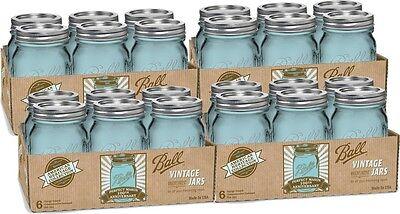 Mason Canning Jars New - 16 Oz Pint Ball Lids Bands Blue - 24 Set - Wedding