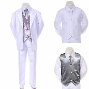 Boy Teen Formal Wedding Party Prom White Suit Tuxedo   Silver Vest ...